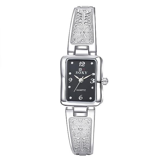 lekima pulsera reloj rectangular Dial cuarzo analógico Negro superficie mariposa patrón Reloj de pulsera regalo de
