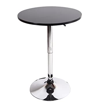 Joveco Black Wood Adjustable Round Bar Table Chrome Finish Pedestal Base