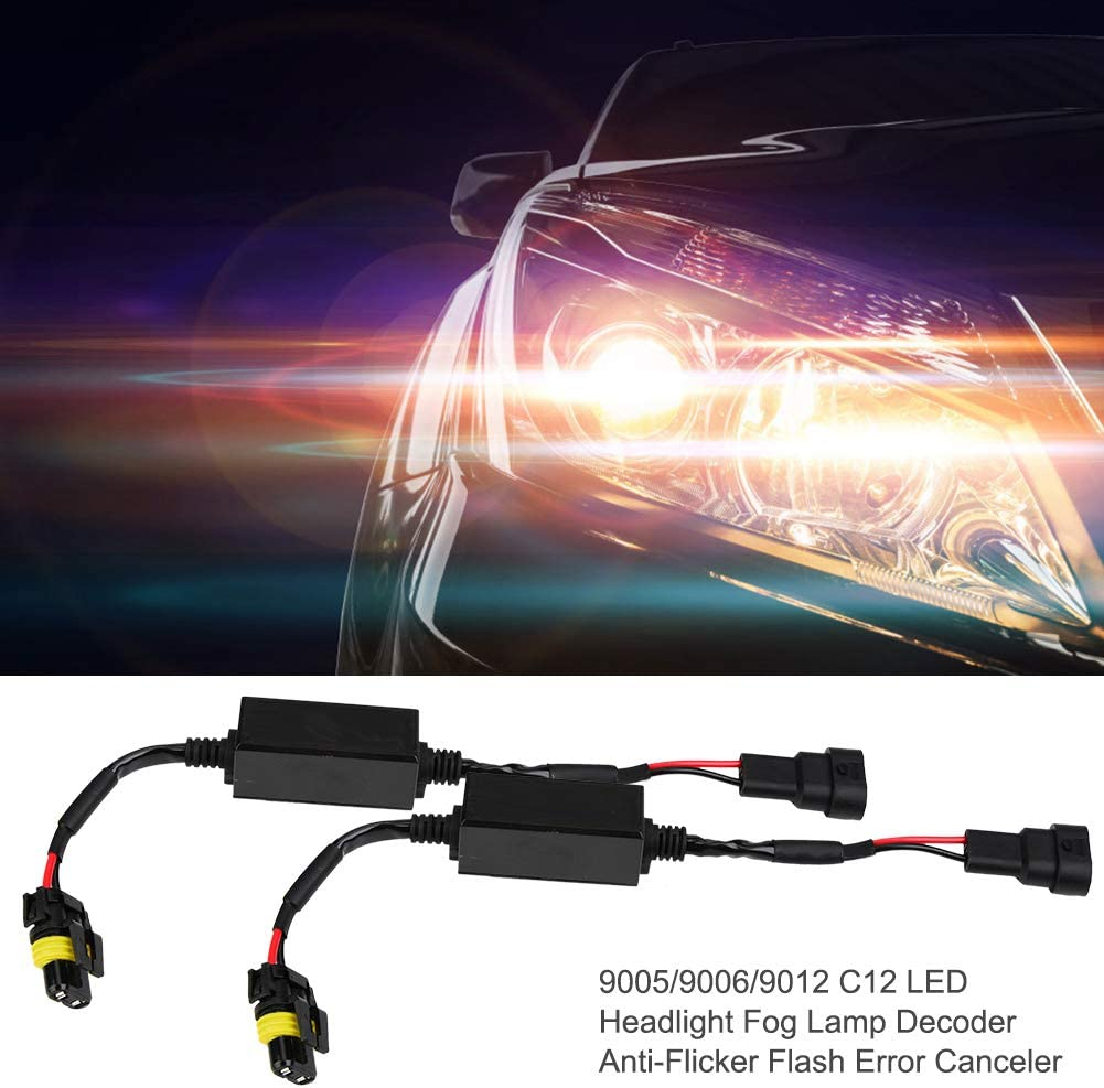 Terisass 9005 9006 9012 C12 2 Pcs LED Headlight Decoder LED Anti-Flicker Decoder Wiring Error Free Decoder
