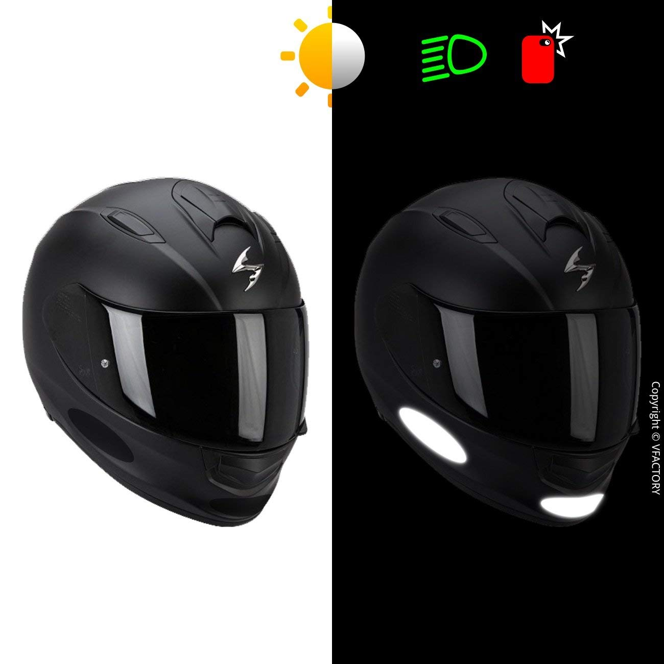 Night visibility safety B REFLECTIVE, 8,5 x 2,7 cm Adhesive for Motorcycle Helmet//Scooter//Bike//Stroller//Buggy//Toys 4 retro reflective stickers kit 4 Pack Black