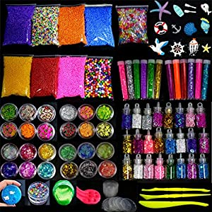 Slime Supplies Kit, 93 Pack DIY Craft Slime Making Stuff included Fishbowl beads, Foam Balls, Glitter Jars, Glitter Powder, Fruit Slices, Sugar Paper, Sea Style Accessories, Slime Tools for Kids