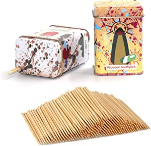 Bamboo Wooden Toothpicks Skewers,1000 pcs with Exquisite Metal Toothpick Dispenser, Appetizers Fruit Skewers, Teeth Cleaning Toothpicks, 4 Colors Available, Ship Randomly