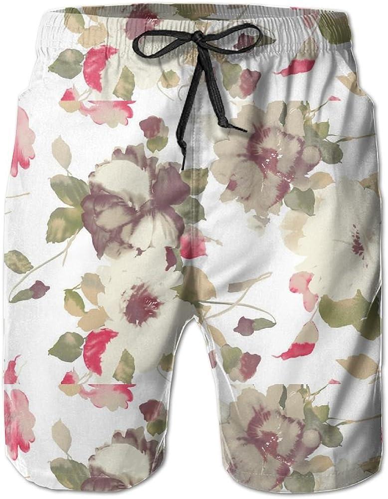 Mens Ink Painting Flowers Quick Drying Ultra Light Short Pants Swim Trunks