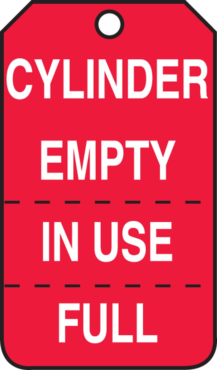 Accuform MGT206PTP Cylinder Status Tag, Legend''CYLINDER EMPTY/IN USE/FULL'' (Perforated), 5.75'' Length x 3.25'' Width x 0.015'' Thickness, RP-Plastic, White on Red (Pack of 25)