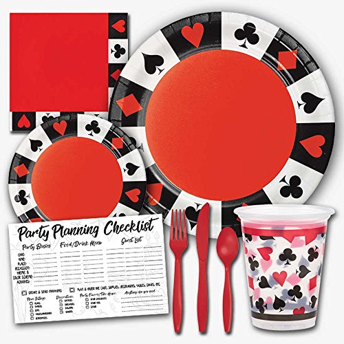 (Card Poker Casino Night Theme Party Supplies Set - Serves 8 Guests)