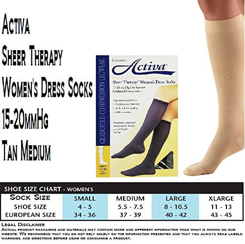 Activa H2602 Sheer Therapy Ribbed Womens Trouser Socks 15-20 mmHg - Size & Color- Tan Medium