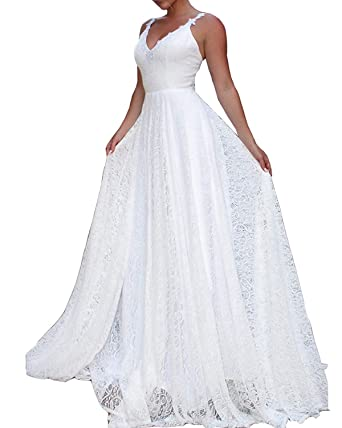 78163e298604 Sulidi Women s V Neck Lace Wedding Dresses 2019 Beach Long Bridal Gowns  C137 at Amazon Women s Clothing store