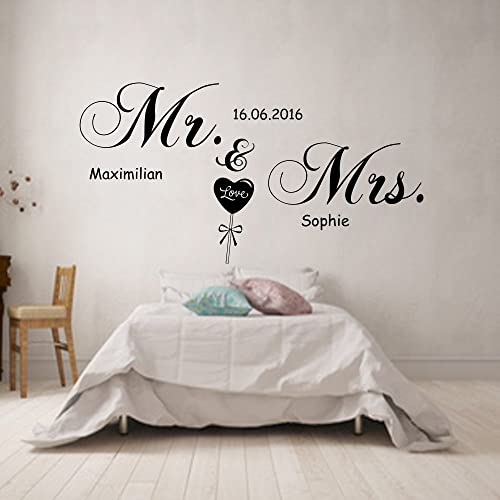 Wandtattoo Spruch MR.& MRS. personalisiert mit Namen und Datum ...