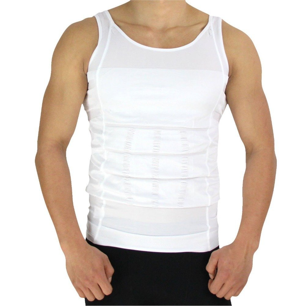 RockWearZ Men's Body Slimming Compression Undershirt Shaper Tank Tops Shirt Undershirts Vest Abs Abdomen Slim Training Workout (Large, White - 1 Vest)