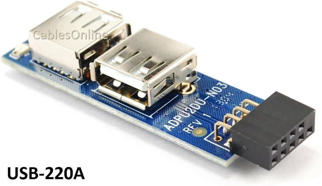 USB 2.0 9-Pin Header to Dual USB AFemale Port Adapter USB 2.0Hub I TypeEP 2x5