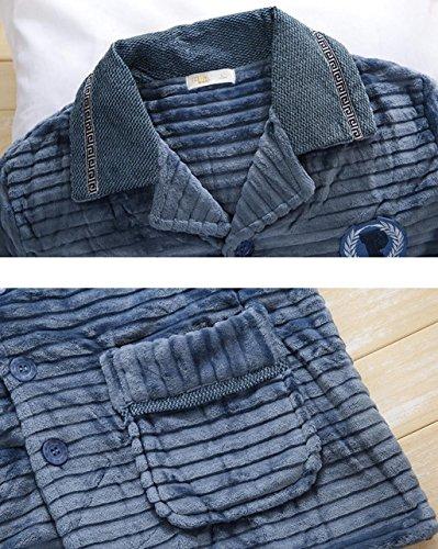 Inverno colore Corallo Dafrew E Casa Blu In Blu Notte Uomo M Accappatoio Da Di Camicia Pigiama Caldo Confortevole Pile Abbigliamento Dimensioni Autunno TwTOxB