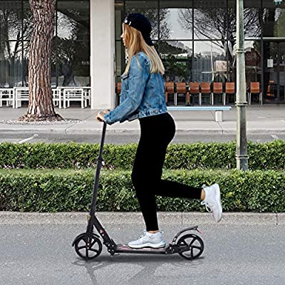 HOMCOM Patinete Plegable Scooter con Manillar Altura Ajustable Patinete para Adultos y Niños (más de 14 años) Tipo Monopatín con Freno Grandes Ruedas ...