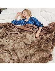 Faux Fur Bed Blanket Soft Cozy Warm Fluffy Variation Print Minky Fleece Throw Blanket