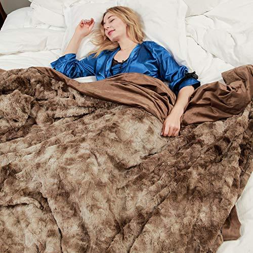 Faux Fur Bed Blanket Soft Cozy Warm Fluffy Variation Print Minky Fleece Throw Blanket (Faux Print Throw Fur)
