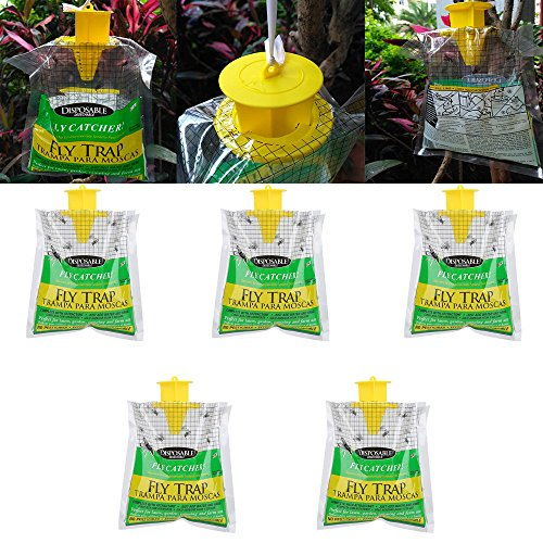 ☀ Dergo ☀ 5PCS Disposable Fly Trap Catcher Fly Catcher Insect Trap Hanging Style Pest Control