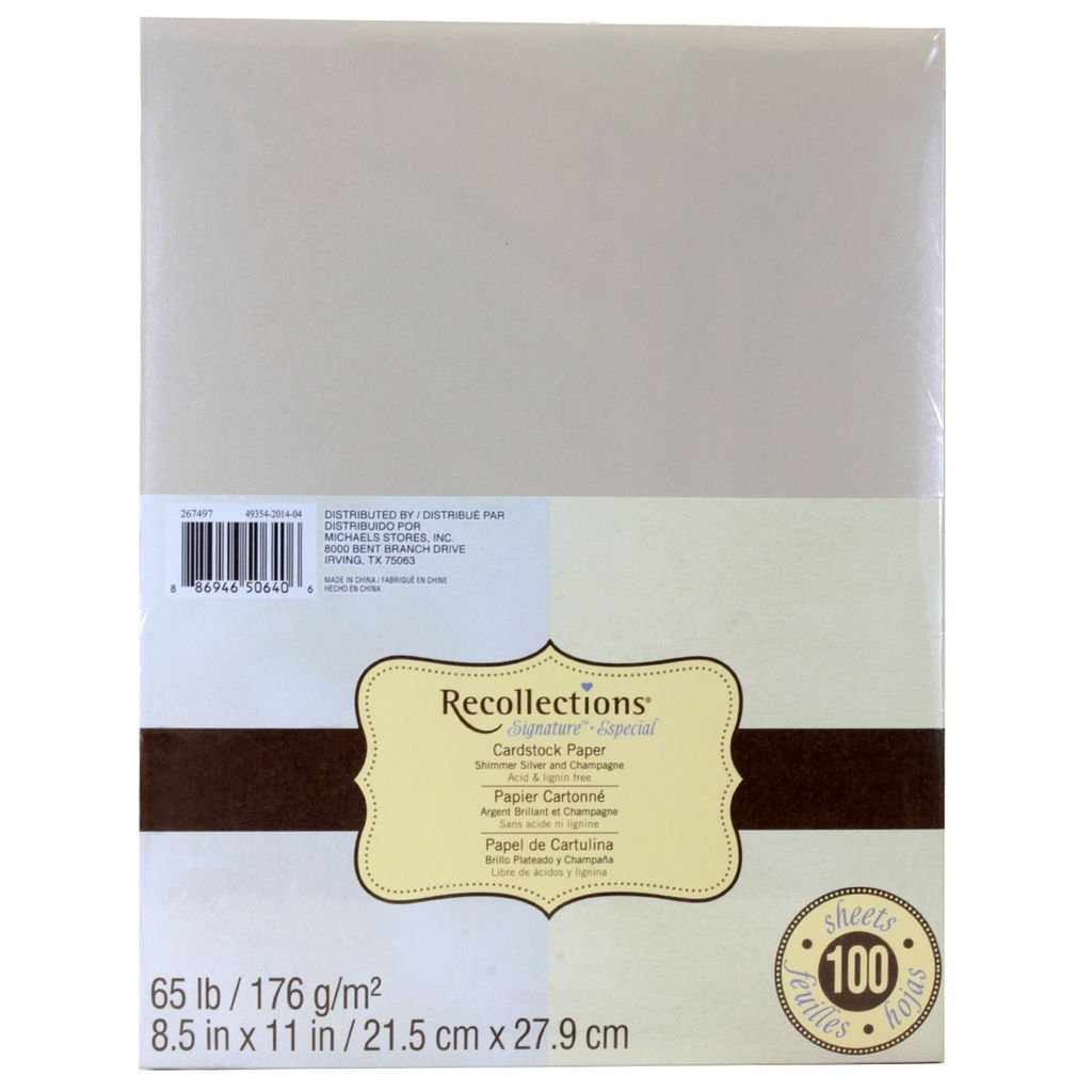 Recollections Cardstock Paper, 2 Colors, Shimmer Silver and Champagne, 100 Sheets, 8 1/2'' X 11'' Metallic