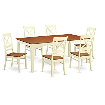 East West Furniture QUIN7 WHI W 7 Piece Formal Dining Table Set,