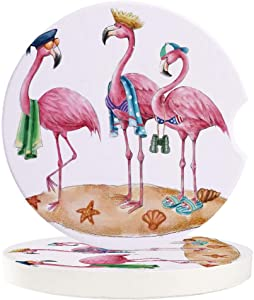 Absorbent Car Coasters for Cup Holders Funny Pink Flamingos, Small 2.56inch Ceramic Stone Drink Coaster for Women Men, Cartoon Beach Theme Set of 2 Pack