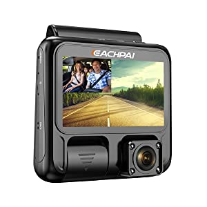 """Dual Dash Cam Full HD 1920x1080P Inside and Outside Car Camera Dash Cams 3"""" LCD with Super Capacitor, Sony Sensor, WDR, Super Night Vision, G-Sensor, Loop Recording, Motion Detection for Uber Lyft Ta"""