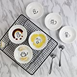 Frjjthchy 6 PCS Lovely Cat Pattern Caucer Plates Ceramics Bread Vinegar Butter Plate Dish(Random Color)
