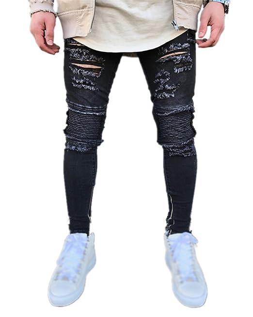 Pantalones Vaqueros Hombre Desgarrar Agujeros Jeans Pernera ...