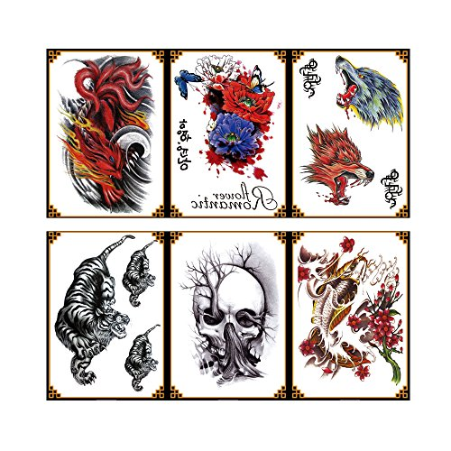 (VanTattoo (6Sheets) Fashion Body Art Stickers Removable Waterproof Temporary Tattoo –Fire wolf, butterfly, tiger, skull, fish, wolf)