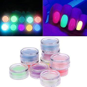 Jocestyle 10 Colors Luminescent Fluorescence Nail Art Tip Powder Diy Glow In Dark Nail Decorations Kit