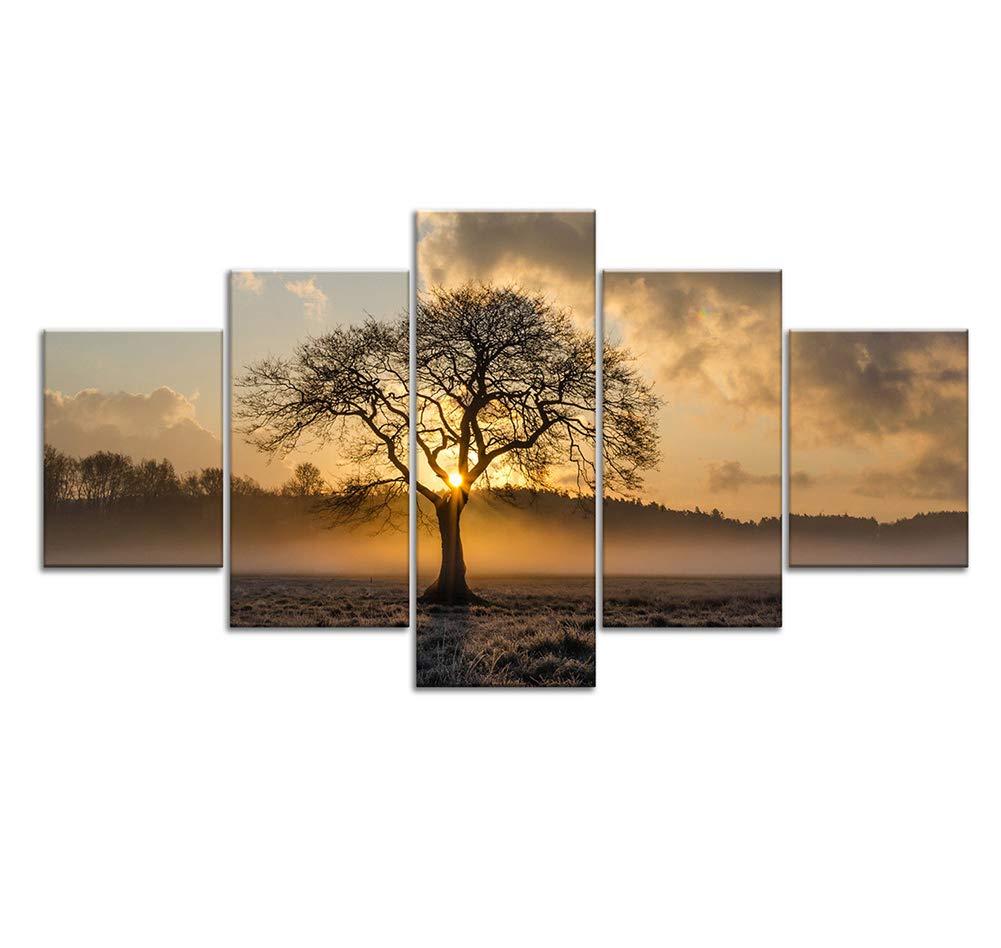 A 30x40x2+30x60x2+30x80x1 CXDM 5 Pièces Toile Moderne Images Murales Décoration D'intérieur Sunrise Tree Landscape Photo Impression sur Toile Giclée Décoration Murale