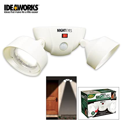 New White Motion Activated Dual Security Lights - Cordless - Battery Operated