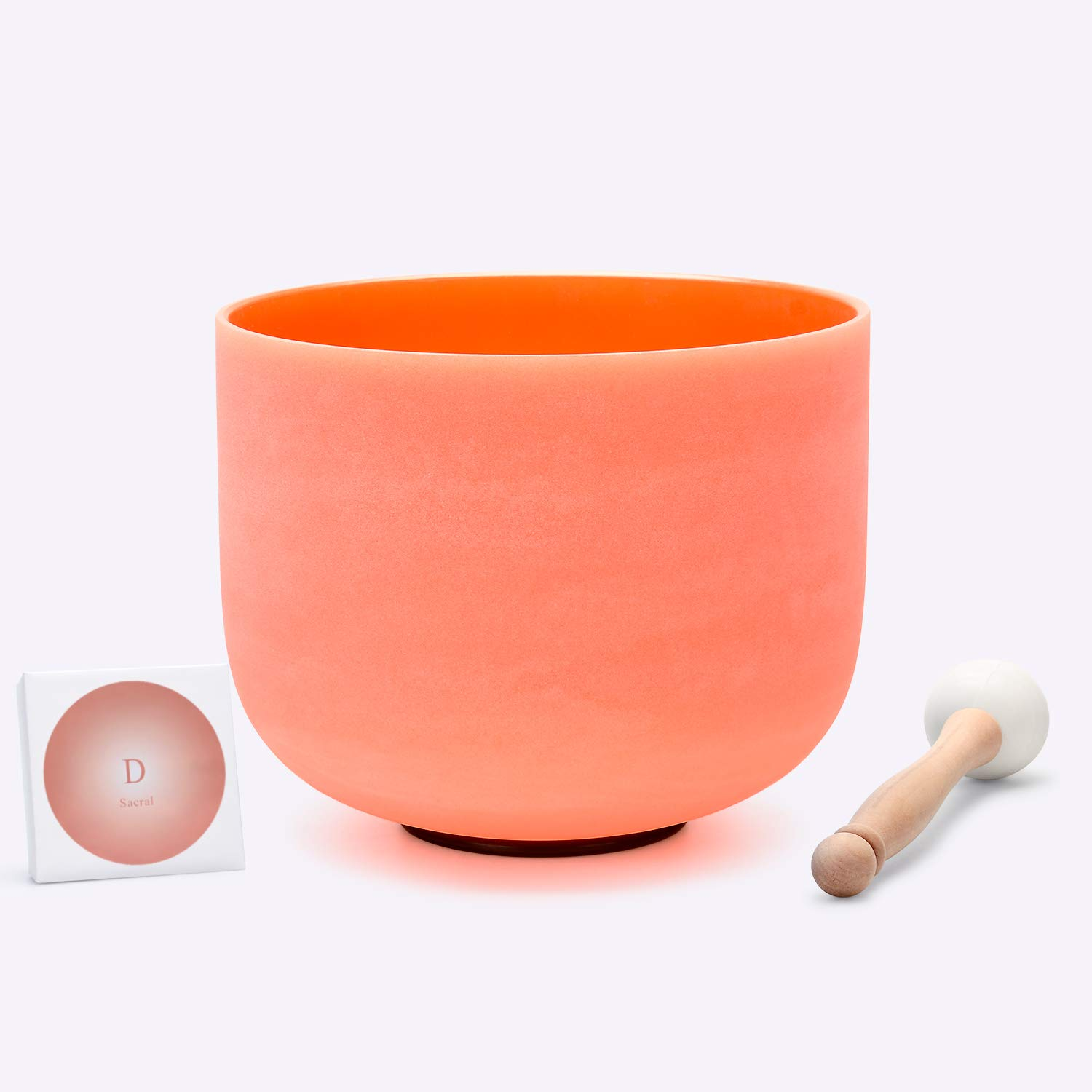 TOPFUND 432hz Tuned Orange Colored Quartz Crystal Singing Bowl D Note Sacral Chakra 8 inch, O-ring and Rubber Mallet Included