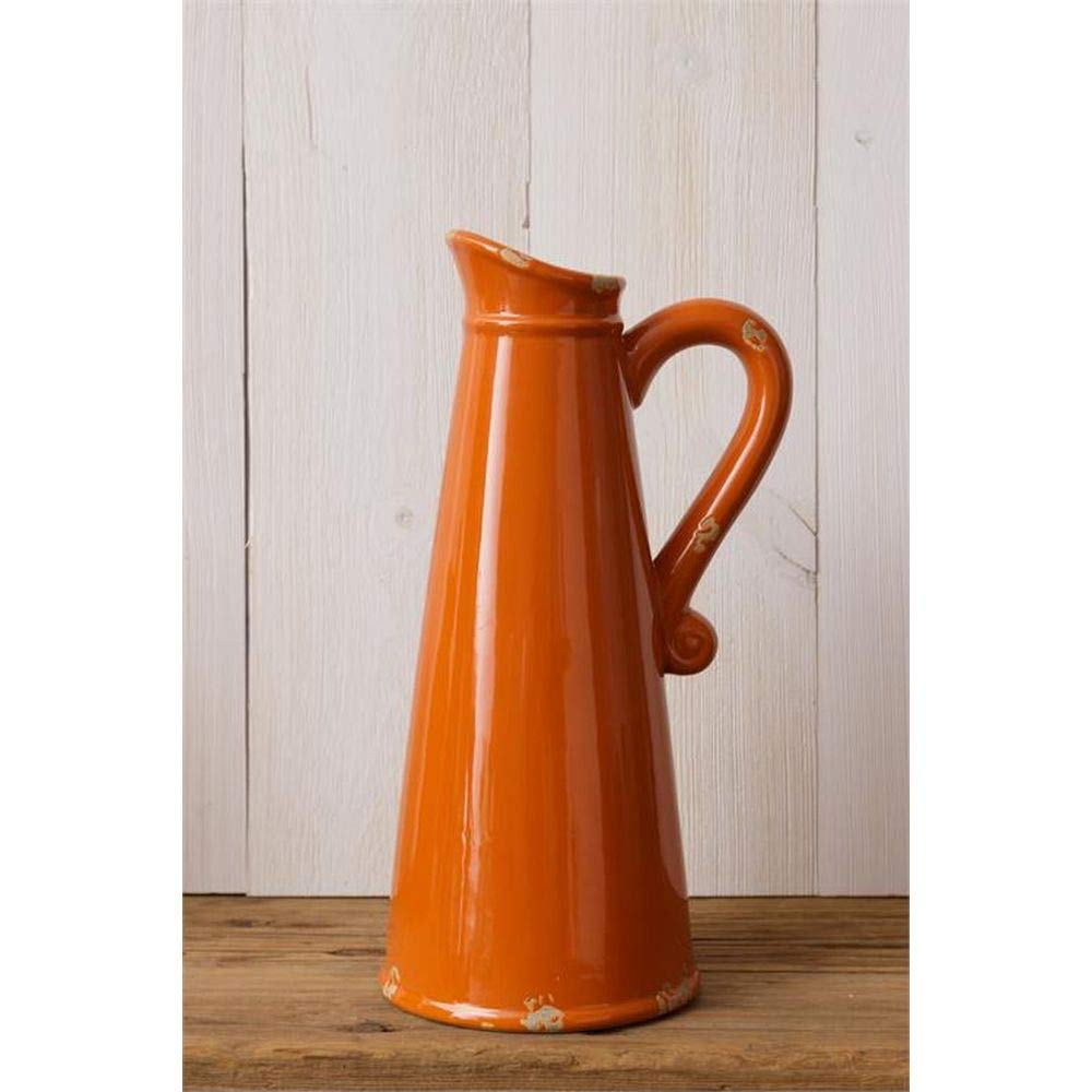 Your Heart's Delight Pottery - Orange Crackle Pitcher by Your Heart's Delight