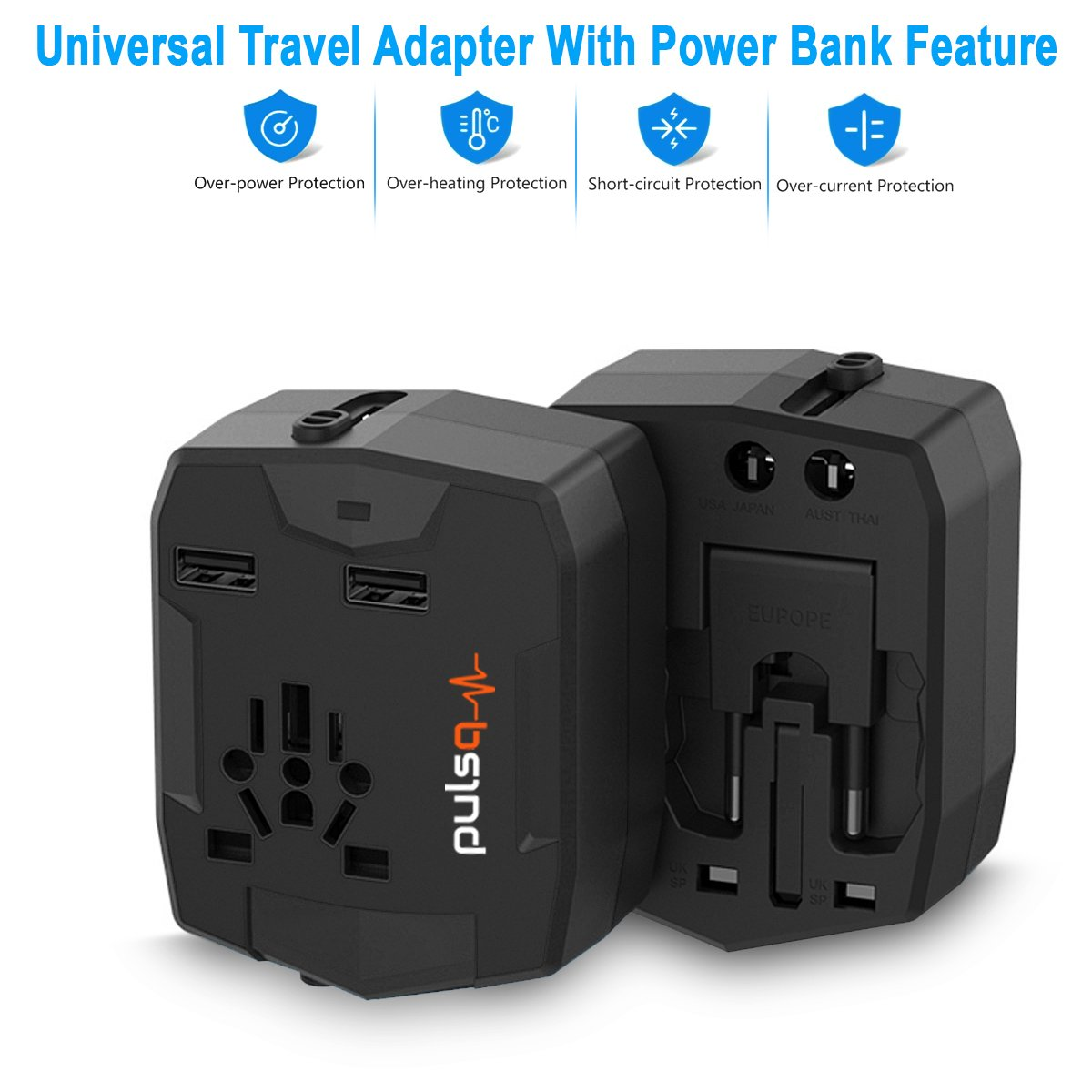 World Travel Adapter, Cellularvilla Universal Travel Adapter with Power Bank [6000mAh], Dual USB, All-In-One International Plugs for Europe Italy UK Asia travel accessories - Black