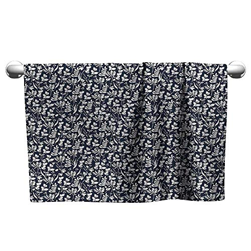 xixiBO Excellent Towel W28 x L12 Flower,Foliage Leaf Silhouette Pattern on Dark Background Blossoming Nature Design,Dark Blue and White a lot of Towels