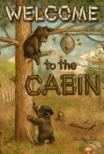 Toland Home Garden Cub Cabin 28 x 40 Inch Decorative Outdoors Welcome Bear Bee House - Decorative Flag Bear