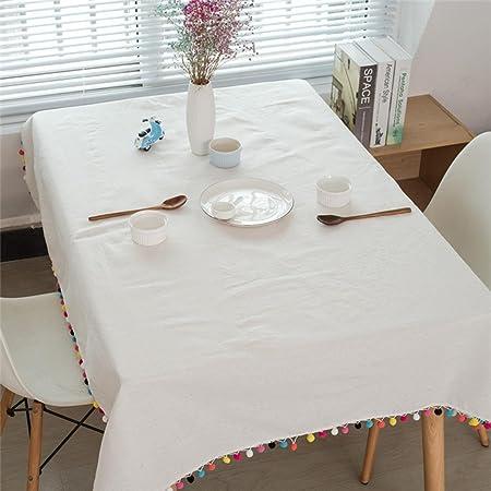 KQS-XYT Mantel de borla Mantel de algodón de lino la mesa de la ...