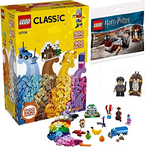 LEGO Magical Flair Harry Potter Brick Set Journey to Hogwarts Building with Hedwig Mini Figure + Bundled with Classic Creative Building Box Set 10704