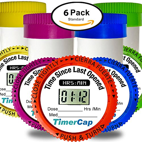 TimerCap Automatically Records Built-in Stopwatch Bottle Cap For Medication Organizer | Child Resistant (6 Pack, Standard, Multi Color) by TimerCap