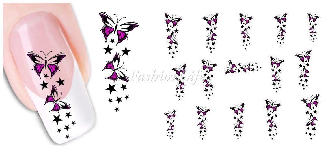 Stickers Pour Ongles avec des Des Papillons- Fleur - XF1446 Nail Sticker Tattoo - FashionLife