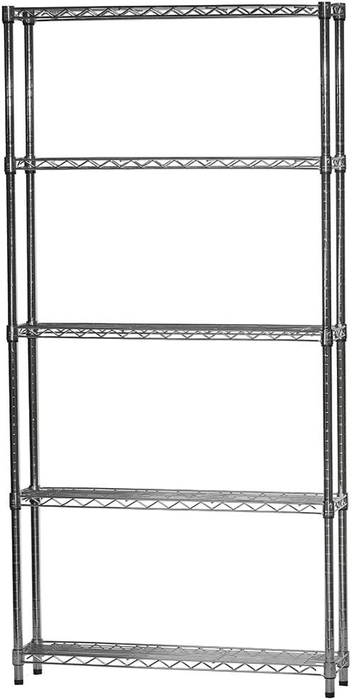 8 d x 36 w x 72 h Chrome Wire Shelving with 5 Shelves