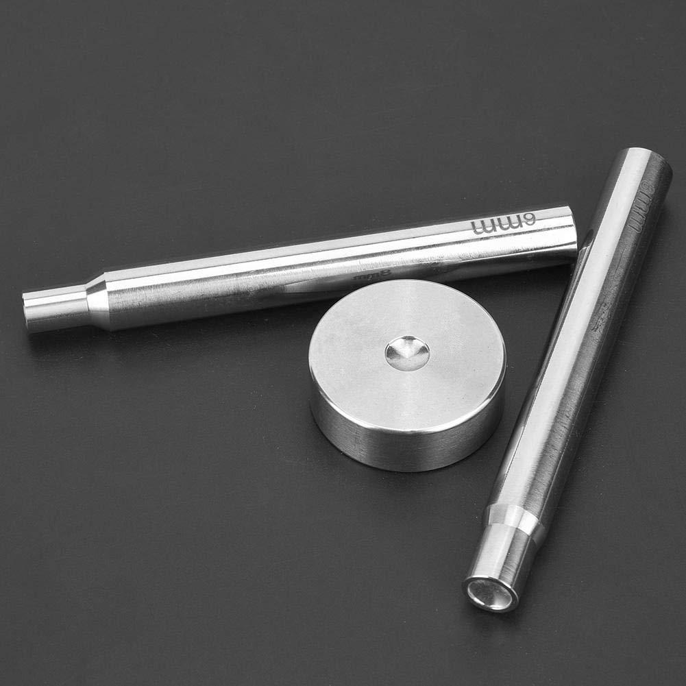 3 Pcs Stainless Steel Rivet Puncher 6//8mm Double Side Base Rivet Installing Tool Push Set for Punch Hole and Install Rivet Button
