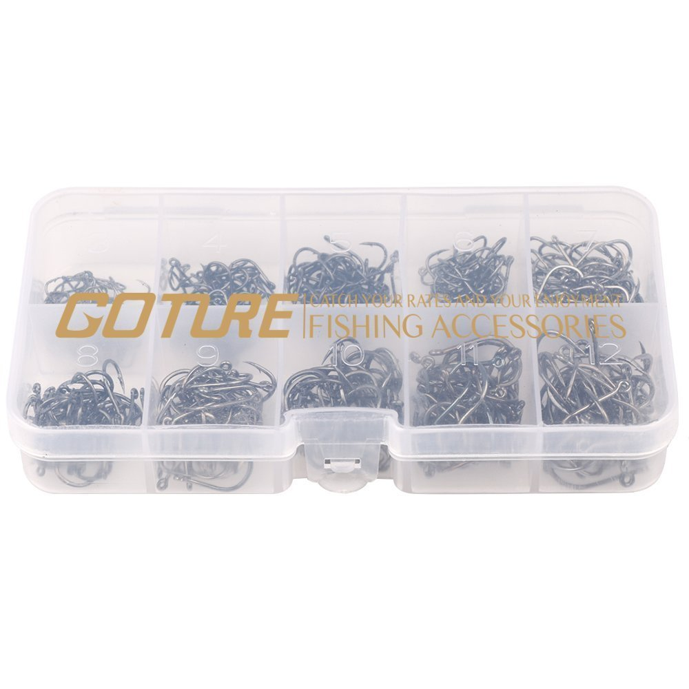 Goture 500 Pcs Small Size High Carbon Steel Fishing Hooks Have #3-12 Size with Box Set Fishing Gear Equipment Accessories