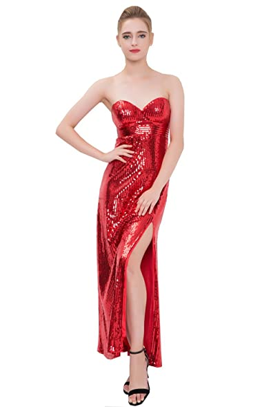 jessica rabbit red sequin high slit costume halloween dress 12 red