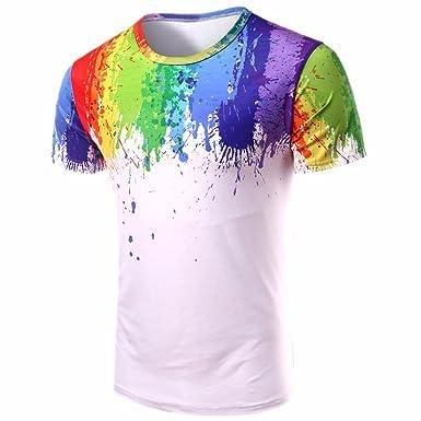 7b109c4a76e33d Men Rainbow Color Print Summer Short Sleeve White Casual T-Shirts Blouse