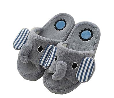 Amazon.com | Blubi Little Kid Big Kid Elephant Slippers Linen Soft ...