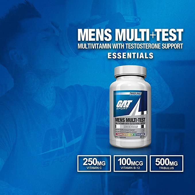 Amazon.com: GAT Sport Mens Multi + Test, Premium Multivitamin and Complete Testosterone Boosting Support with Tribulus Terristis, 60 Tablets/30 Servings: Health & Personal Care