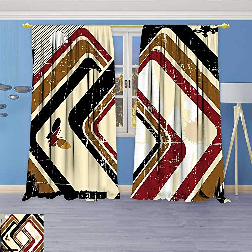 Philiphome Embossed Thermal Weaved Grommet Blackout Curtains Forms in Grunge Effects Butterflies Retro Illustration Light Yellow Black Ruby Caramel Blocks up to 80% of Sunlight- Premium ()