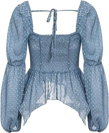 Blusa con Volantes de Lunares Sexy para Mujer Blusa de Gasa con Manga Linterna de Cuello Cuadrado Casual Blusa Delgada Elegante y sólida para Mujer
