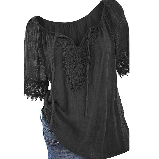 Amazon.com: MaQiYa - Blusas de encaje para mujer, de verano ...