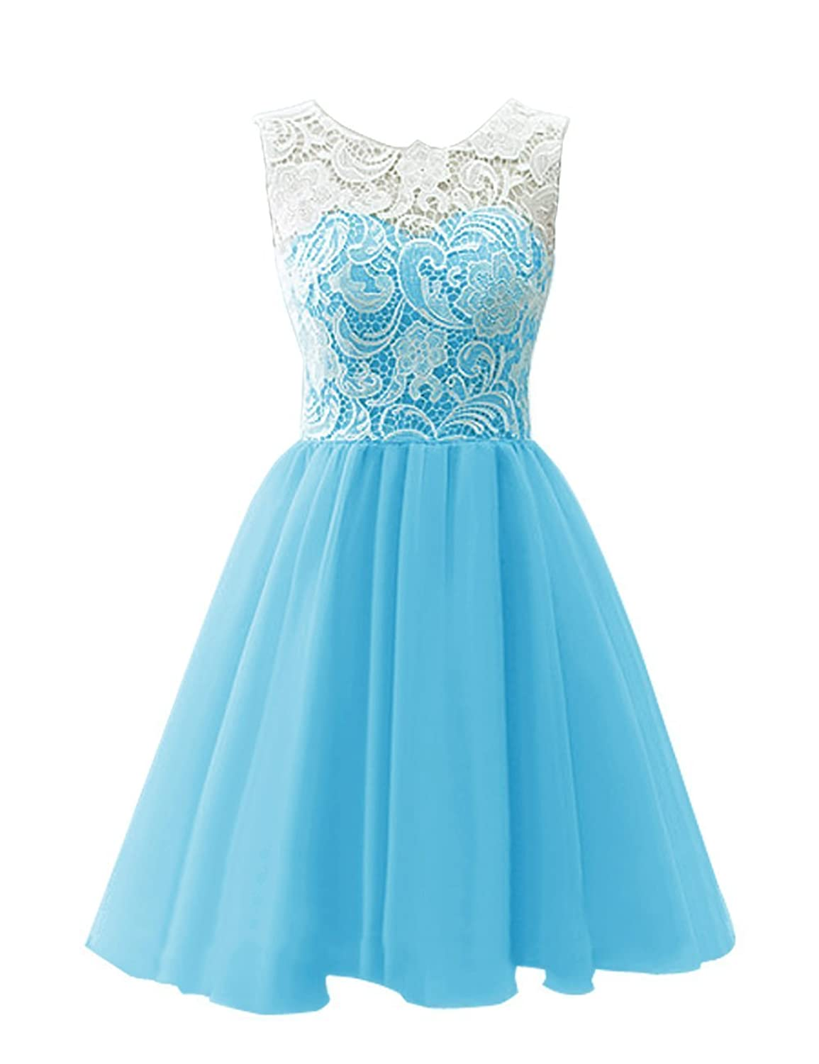 Drasawee Short Tulle Evening Cocktail Ball Gowns Prom Dresses for ...