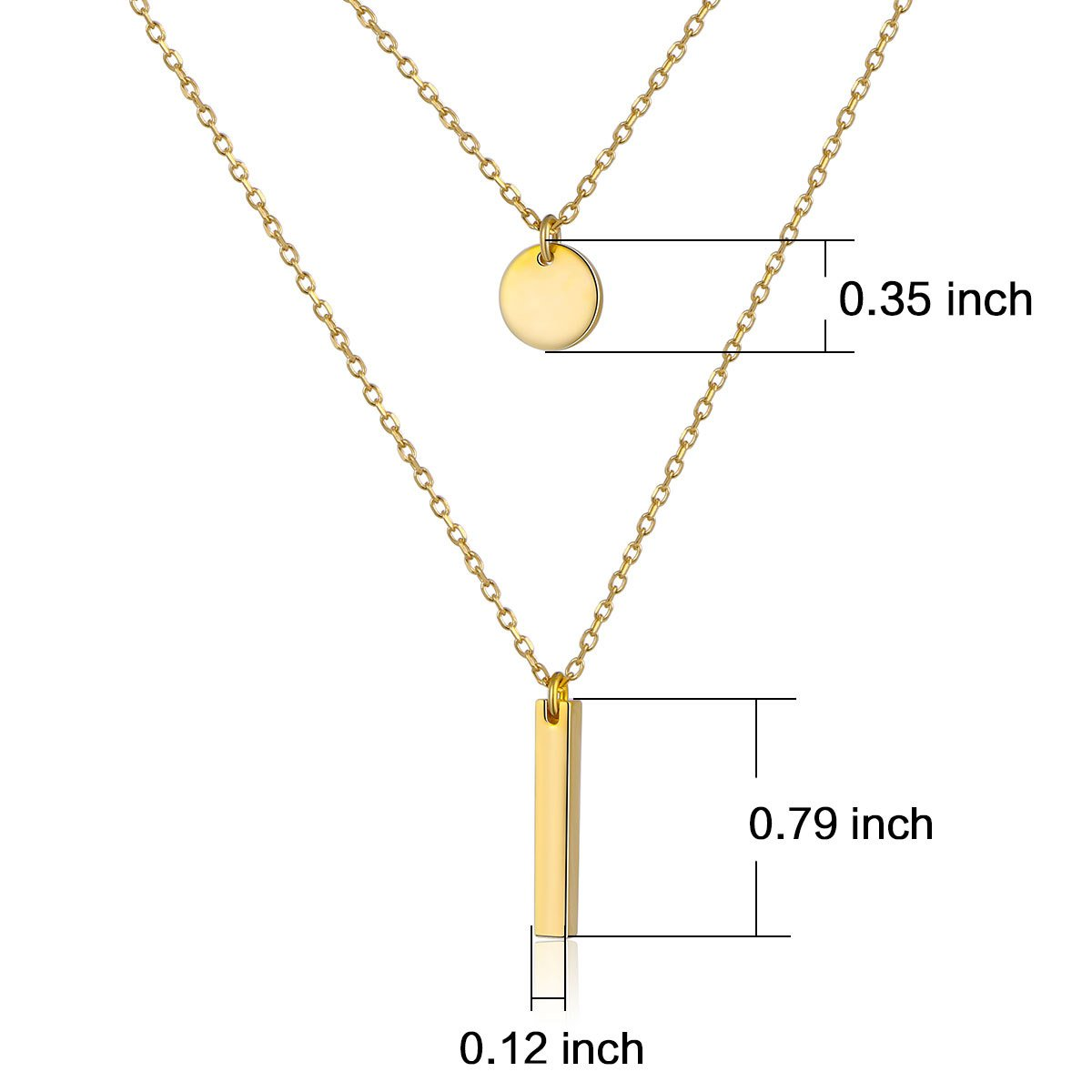 925S Sterling Silver Bar Dot Double Layered Long Chain Choker Y Necklace Women Lady Golden by SILVER MOUNTAIN (Image #5)